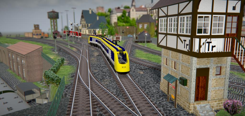 Passenger Train in 3D train studio