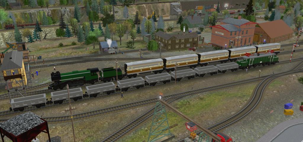 Emerald Night and E94 in 3D train studio